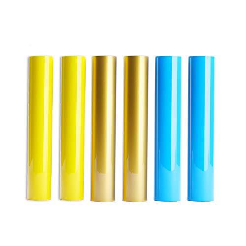 TECKWRAP PU, verschiedene Farben, Wärmeübertragung, Vinyl für Silhouette und Cricut, 6 Bögen, 30,5 x 25,4 cm gold,yellow,neon blue -