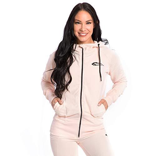 SMILODOX Damen Zip Hoodie 'Delicate' | Laufjacke für Sport Training & Freizeit | Trainingsjacke - Running | Sweatshirt mit Reißverschluss, Farbe:Pink, Größe:M