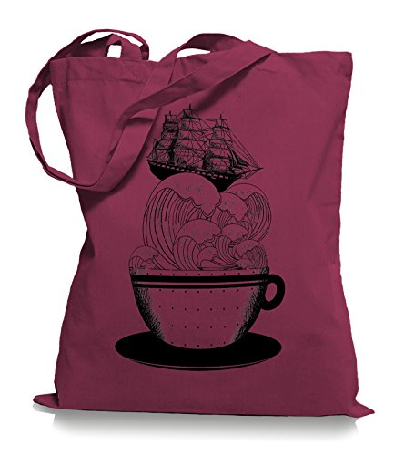 Ma2ca® Cup of Ship - Schiff Jutebeutel Stoffbeutel Tragetasche / Bag WM101 Cranberry