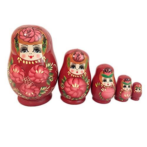 JJSFJH Matriochka 5 Stück Nesting Dolls russische hölzerne kleine Bauch stapeln Toy Girl Doll (Kostüm Der Russischen Folklore)