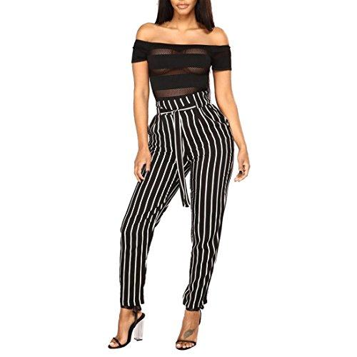 (Hosen Damen Sommer Sport Stretch Slim Fit High Waist Skinny Pluderhosen Bowtie elastische Taille Streifen Casual Hosen (Schwarz, S))