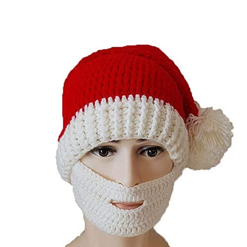 Huichao Chapeau de Noël d'automne et d'hiver,Chapeau tricoté à la Main, Hommes et Femmes,White