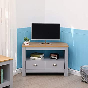 CFDZ CF Furniture Living Room 2 Piece Set Lamp Table TV Stand Modern Simple Practical Grey+Oak