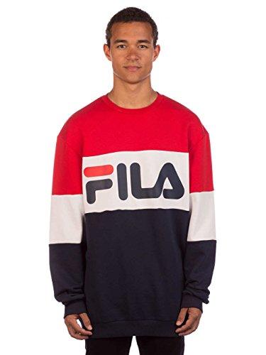 fils pullover Fila Sweatshirt Herren URBAN LINE Sweatshirt Straight Blocked Crew 681255 K14 Black Iris Bright White True Red, Größe:S