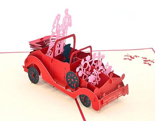 medigy Retro Boda modelo de coche hecho a mano 3d Pop Up Tarjetas de felicitación tarjetas de invitación para boda, San Valentín, tarjetas de San Valentín/Regalos de la amantes, pareja