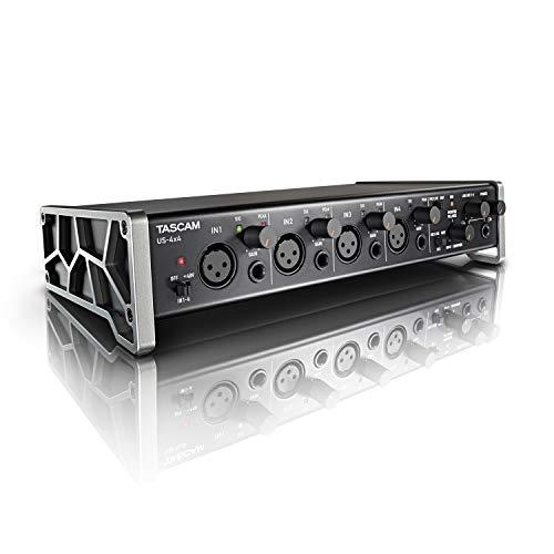 TASCAM US-4x4 - Scheda Interfaccia Professionale Audio Midi USB 4 In e 4 Out, con Configurazioni Multi-mic e Quattro Uscite Bilanciate Configurabili, Nero