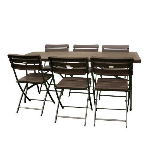 Interouge Ensemble Jardin/réception Table Pliante 180cm et 6 chaises Pliantes Effet Bois Brun
