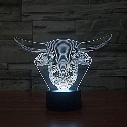3D Illusion Tier Viehkopf Led Schreibtisch Tisch Nachtlicht Lampe 7 Farbe Touch Lampe Kinder Geschenk Kinderzimmer Thema Dekoration
