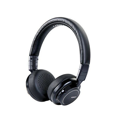 Aukey cuffie bluetooth, auricolari wireless con basso profondo, tempo d'uso fino a 18 ore, microfono incorporato e l'ingresso audio 3,5mm, cuffie stereo per cellulari, tablet e pc
