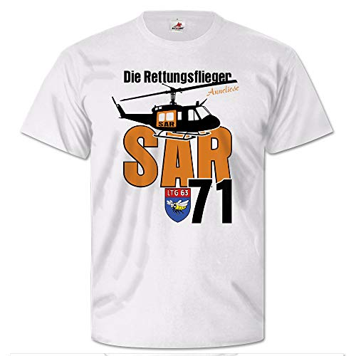 Die Rettungsflieger SAR 71 Search and Rescue Huey UH-1D T Shirt #25709, Größe:Herren M, Farbe:Weiß