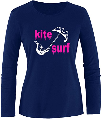 EZYshirt® Kite Surf Damen Longsleeve Navy/Weiss/Pink