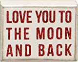 Primitives by Kathy Love you To the Moon and Back Red Glitter Box Sign valentine by Primitives By Kathy