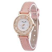 Souarts Womens Pink Artificial Leather Band Rhinestone Dial Quartz Analog Wrist Watch 22cm