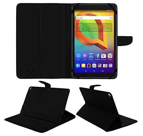 Acm Executive Case & Tempered Glass Combo for Alcatel A3 10 Flip Cover Screen Guard Black