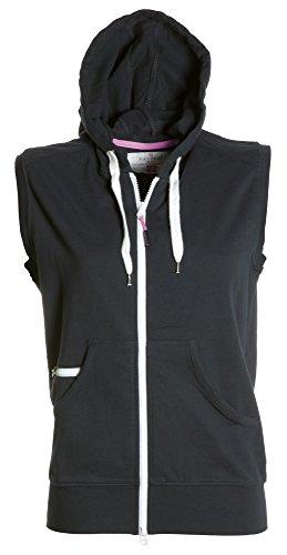 Damen Sweatweste mit Reißverschluss und Kapuze, Farbe:black;Größe:L