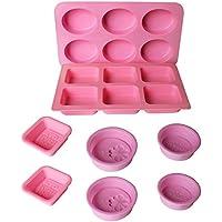 Kurtzy Moldes Jabones Silicona - 8 Piezas 18 Cavidades Kit Suministros Molde Hacer Jabón Baño - Haga Formas de Jabones a Mano de Sus Recetas e Ingredientes Caseros - Fácil de Limpiar