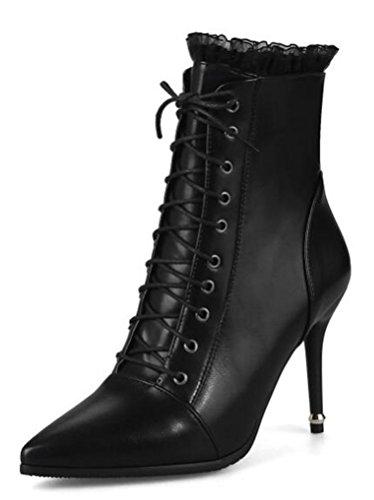 Easemax Damen Modisch Spitze Zehe Lace Up Stilettos High Heels Stiefel Schwarz 38 (High Girls Heel Stiefel)