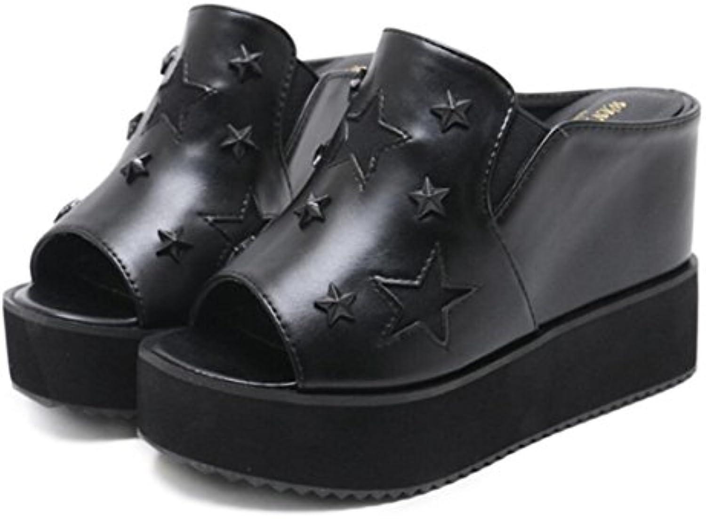 LINYI Zapatillas De Sandalias De Cuña De Suela Gruesa para Mujer Zapatos De Mulas Abiertas De Punta Abierta,Black-38