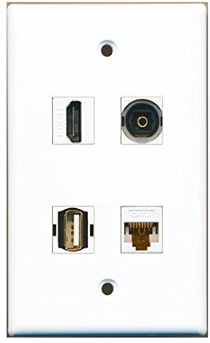 riteav-1Port HDMI USB-Port a-a, 1Port Toslink, 1Port Cat6Ethernet-weiß-Platte Gang 4-port-wall Plate