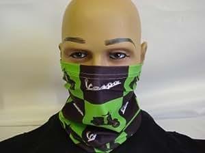 Masque visage Cache-cou Snood Noir Vert Vespa Scooter fabriqué dans le Yorkshire