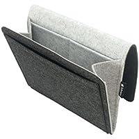 Tebewo Bett-Organizer aus Filz | Stabile Bett-Ablage | Hängeregal für Bettkasten | Bett-Tasche zur Aufbewahrung von Büchern, Fernbedienung und Mehr | Farbe: Grau