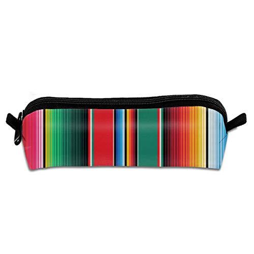 Mexikanischer Teppich Serape Stripes The Arts Canvas Bleistift Box Student Schreibwaren Tasche Büro Schließfach Münztüte Kosmetiktasche Handtasche