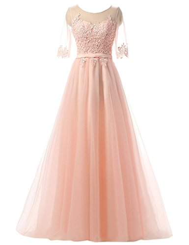 Clearbridal Damen Prinzessin Ballkleid Abschlusskleid lang Abendkleid Langarm mit Spitze CAH004 Rosa Gr.58