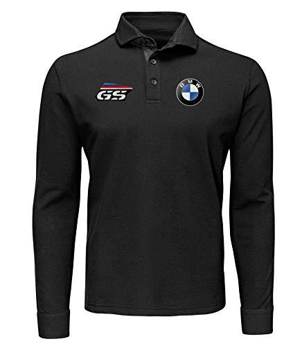 Polo Manica Lunga Logo BMW MPower Motorrad R1200 GS Team Italia Racing Corse Auto Moto Personalizzata PRN-04 (XXL)