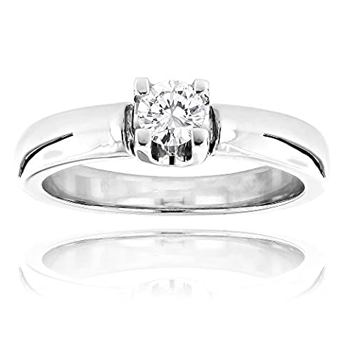 Affordable 14K Round Natural 0.2 Ctw Diamond Solitaire Engagement Ring For Cheap (White Gold Size 8.5)