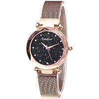 BEARCOLO El Reloj Star Dial Impermeable para Mujer, Reloj de Cuarzo de Cristal analógico Informal