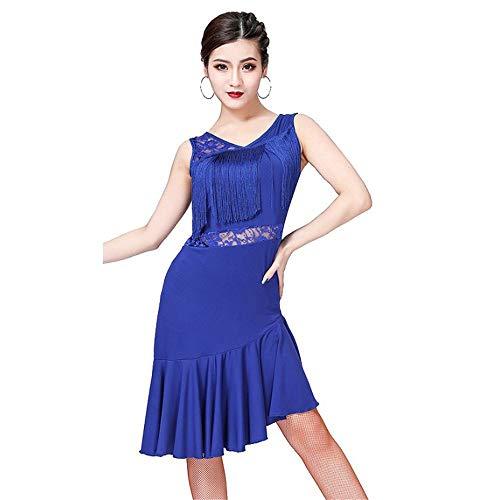 Tanz Adult Kostüm Medium - Ärmellos V-Ausschnitt Unregelmäßiger Saum Spitze Quaste Tango Rumba Ballsaal Kostüme Adult Stage Dancewear Schöner Frauen-Langer Fleck-Rock (Farbe : Blau, Größe : M)