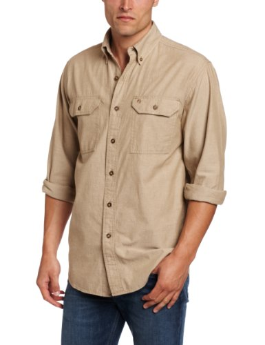 Chambray-utility Shirt (Carhartt Men's Size Long-Sleeve Lightweight Chambray Button-Front Relaxed-Fit Shirt S202, Dark Tan, X-Large/Tall)