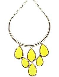 RazMaz™ Fashion Big Long Layer Pendant Yellow Bubble Teardrop Shape Stone Choker Chain Necklace For Women And...