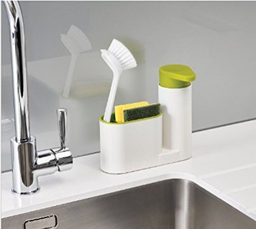 Woogor 2 IN 1 Stand for Kitchen Sink With Liquid Soap Dispenser & Cleaning Cloth Holder, Dishwasher Liquid, Brush, Sponge & Soap Holder - Random Color  available at amazon for Rs.390