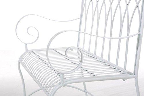 CLP Gartenbank DIVAN im Landhausstil, aus lackiertem Eisen, 106 x 51 cm – aus bis zu 6 Farben wählen Weiß - 7