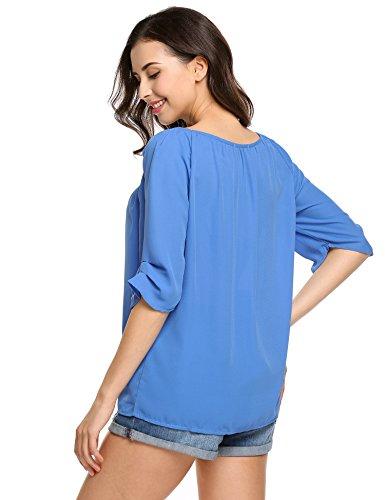 Trudge Damen Damen Einfarbig Chiffon Bluse Gerollte Ärmel Rundhalsausschnitt Plissee Blusenshirt Tops Klassic Blau