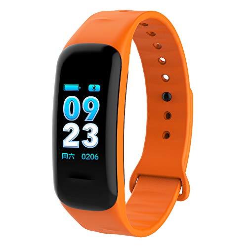 LKJCZ Fitness-Tracker, Pulsmesser Farbbildschirm Smart Armband mit Schlaf Monitor, IP68 Wasserdichter Aktivitäts-Tracking-Roboter und IOS-Smartphone,Orange