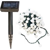 Lunartec Solar-Ketten: Solar-LED-Lichterkette mit 102 weißen LEDs, 10 m, IP44 (Solarlampen Lichtketten)