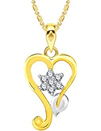 VK Jewels Leaf Heart Gold And Rhodium Plated Alloy CZ American Diamond Pendant With Chain For Women [VKP2566G]