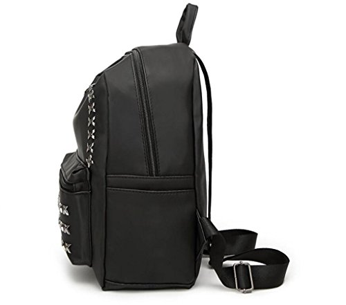 Great Strange Oxford Cloth Borsa a tracolla doppia Borsa Student Student Shopping Simple Turismo Rivet Black Large Tromba , black trumpet black trumpet