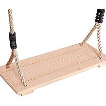 RONDA Columpio de Madera, Columpio para jardín para niños Adultos con 123-213cm Cuerda Ajustable, hasta 150kg