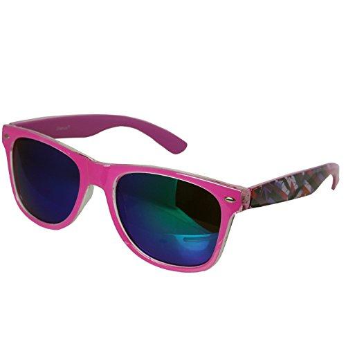 Preisvergleich Produktbild Hornbrille Atzenbrille Nerd Brille Klar oder als Sonnenbrille wayfarer Brille Nerdbrille in verschiedenen Farben. (Pink England Muster 2)