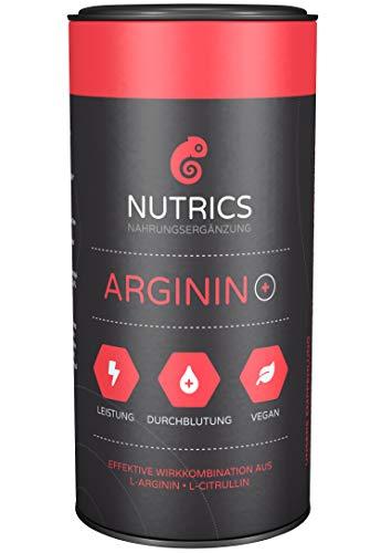 Nutrics Arginin +   100{9d2609645cd6562974fed2d64e6ad128d414e190437061de2003e1ef0b761b08} Vegan   120 Kapseln   Aminosäuren hergestellt in Deutschland   Sportlerpackung