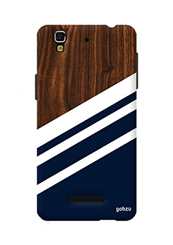 Gobzu Printed Back Covers for Micromax YU Yureka Plus - Wood Blue White