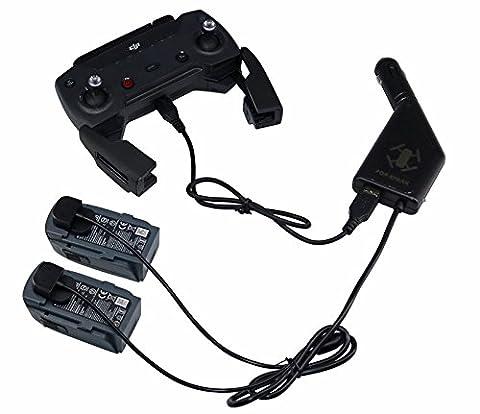 ZEEY Reise Auto Aufladeeinheit für DJI Spark Drone Batterie / Fernsteuerpult Auto Adapter mit Akku Ladeanschluss und USB Ladeanschluss (2 Battery + 1 USB Charging