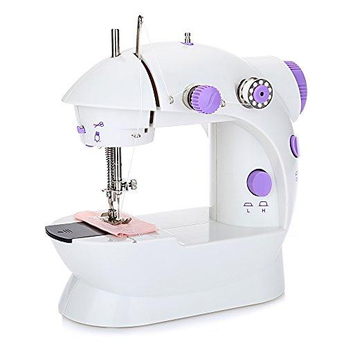 Outlife Mini Machine à Coudre Electrique Vitess Réglable Ménage avec Lumière en Plastique Purple et Blanc 17.00 x 9.50 x 18.00 cm