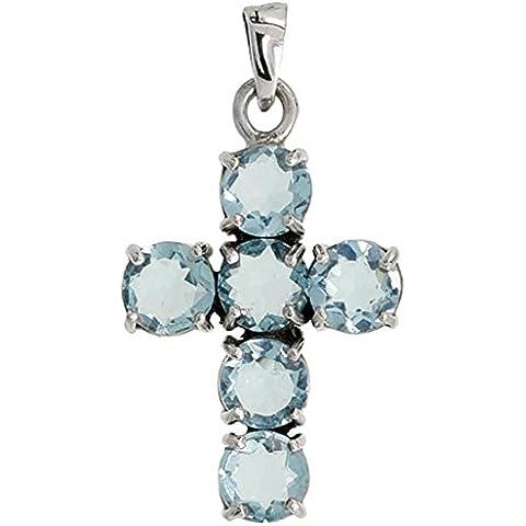 In argento Sterling, con pendente a croce in Marcasite, taglio a brillante, 7 mm, colore topazio blu e zirconi cubici, 1 3/20,32 (8 cm (35