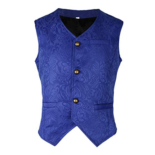 IPOTCH Chaleco Mediano Jacquard Hombres Steampunk Slim Fit Mujer Regalo Personal - Azul, METRO