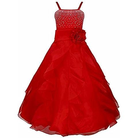 iEFiEL Vestido Floral de Princesa de Ceremonia de Bautizo de Tiras con Lazo para Niña Organza