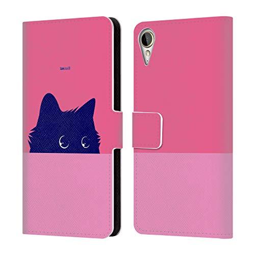 Head Case Designs Offizielle Zelko Radic Bfvrp Pink Katze Tiere Leder Brieftaschen Huelle kompatibel mit HTC Desire 10 Lifestyle